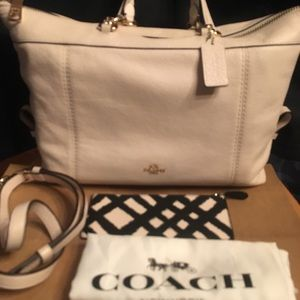 Coach Ivory leather convertible+zip Case+dust bag